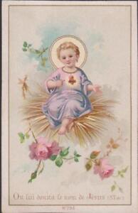 IMAGE PIEUSE HOLY CARD SANTINI- ON LUI DONNA LE NOM DE JESUS-ROSES-LIT DE PAILLE L8pN6e9A-09094308-531135670