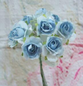 10 x Mulberry Paper RUSTICO Rose Blu Abbellimenti Card Making 2.5cm