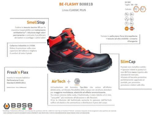 BASE CLASSIC PLUS SCARPE ANTINFORTUNISTICA BE-FLASHY S3 SRC ROSSO FLUO B0881B