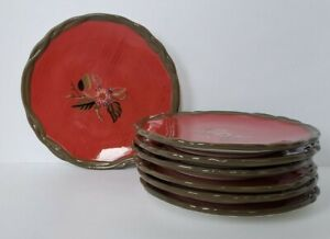 Anthropologie-Tracy-Porter-Octavia-Hill-Collection-Red-Salad-Plates-Set-Of-7