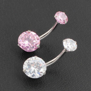 Details About Surgical Steel Navel Rings Pink Crystal Belly Button Ring Bar Piercing Jewelry