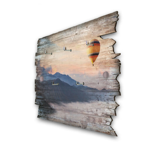 Ballonfahrt Schlüsselbrett Hakenleiste Landhaus Shabby chic aus Holz 30x20cm