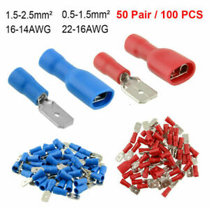 Male /& Female Terminal Connectors,100pcs Blue 16-14AWG Male /& Female Insulated Spade Electric Wire Terminal Connectors