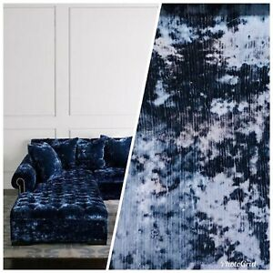 Details About Swatch Designer Made In Belgium Crushed Velvet Upholstery Fabric Navy Blue