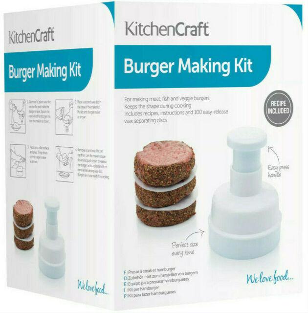 Kitchen Craft Hamburger Burger Press Maker With 100 Wax Discs