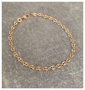 Bracelet Maille Grain De Café  Plaqué or 18 Carats Poinçonné Bijoux femme