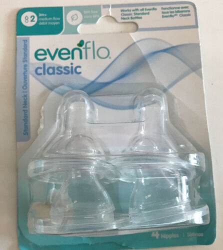 New 4 Pack Evenflo Classic Silicone Nipples Stage 2 Medium Flow