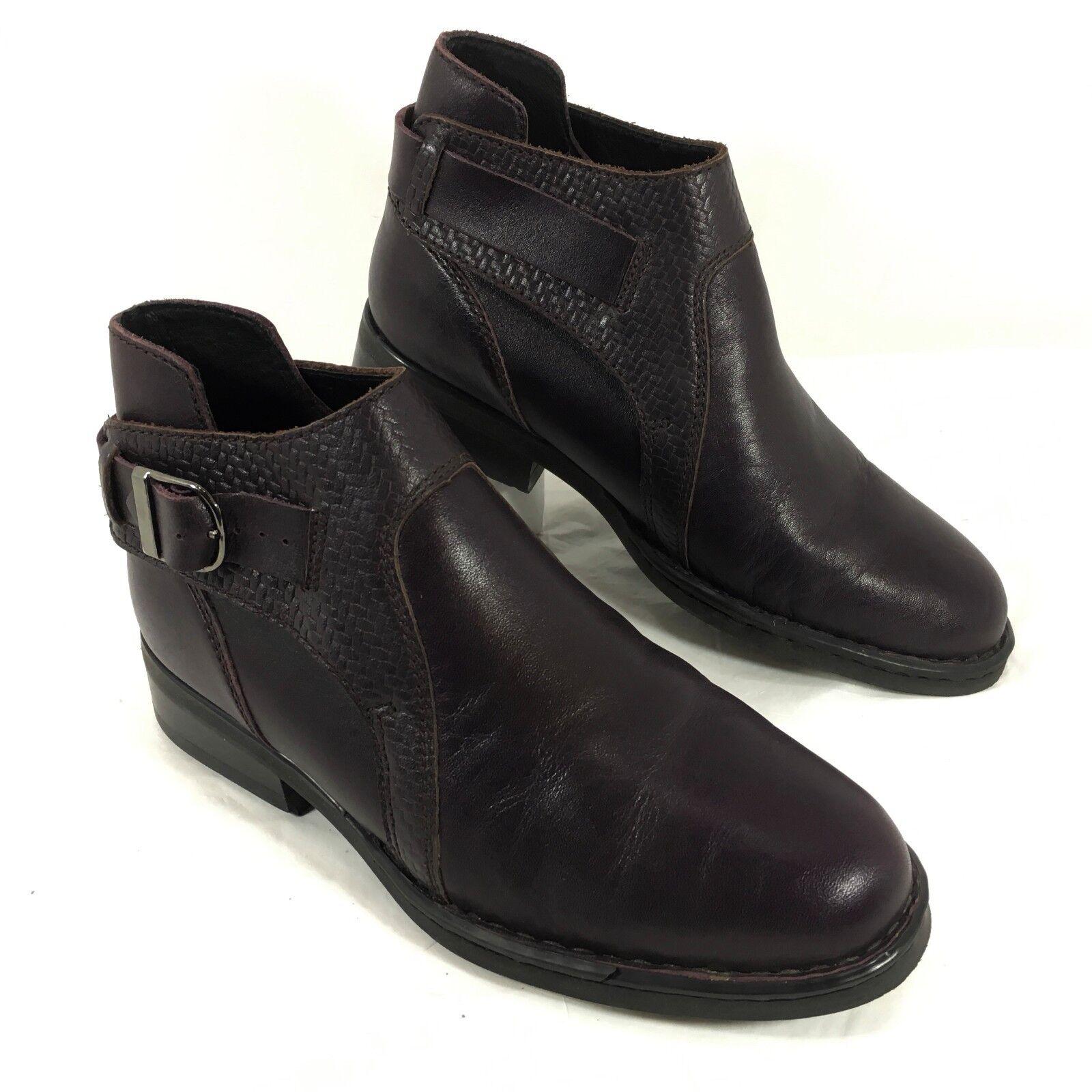 Women's Double H HH Purple leather ankle boots Sz 7.5 M