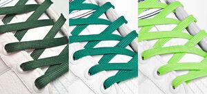 Vert Plat Lacets De Chaussures Long Lacets - 8mm De Large - 11 Longueurs - 3 Teintes-afficher Le Titre D'origine