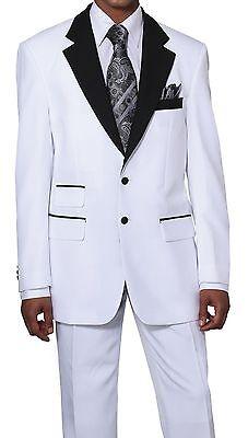Men's 2pc Poplin Dacron Two Button Fashion Suit 7022 Solid White/White
