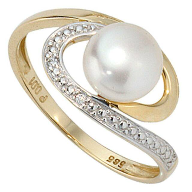 JOBO Damen Ring 52mm 585 Gold Gelbgold 1 Süßwasser Perle 2 Diamanten Brillanten