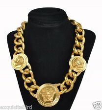 New Versace Gold Medusa Charm Chain Necklace