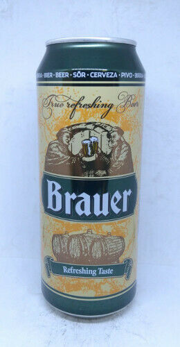 Poland Empty Brauer Pale Lager Beer can; 500 ml//16.9 fl oz; BOTTOM opened
