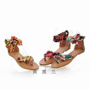 662b78c21e5b1 Summer Boho Womens Floral Flip Flops Thong Sandals Flats Beach Shoes ...