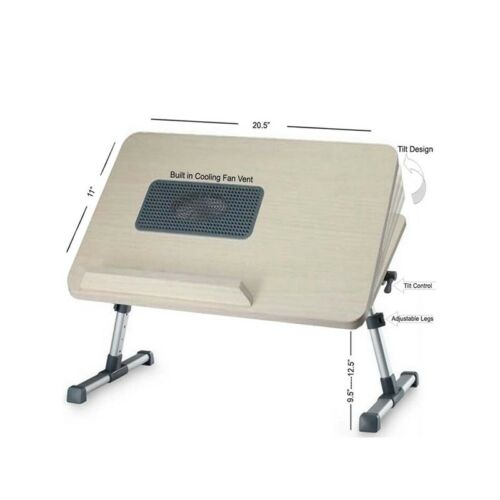 Portable Flexible Wooden Laptop e-Table With Built-In USB Powered Cooling Fan