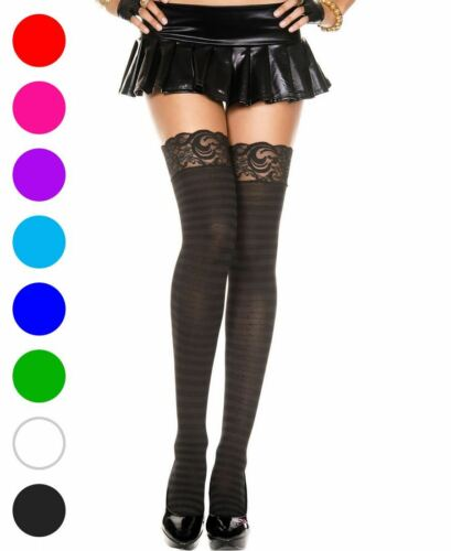 Music Legs 4740 Opaque Striped Lace Top Thigh High Stockings