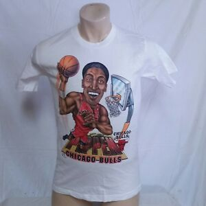 reputable site b8f92 168c0 Image is loading VTG-90s-Scottie-Pippen-T-Shirt-Caricature-Chicago-