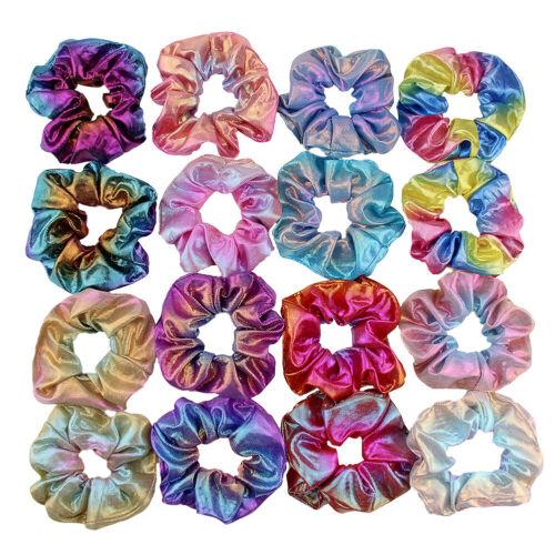 8PCS//SET Shiny Metallic Hair Scrunchies Ponytail Holder Elastic Hair Ties Bands
