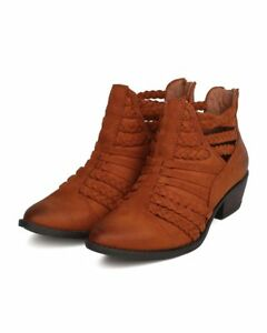 New-Women-Qupid-Sochi-87-Faux-Suede-Pointy-Toe-Braided-Cut-Out-Bootie
