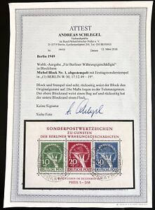 Berlin Germany 1949 Block 1 Gestempelt Used Sheet 2200 Euro BPP Attest Schlegel