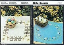 Sticken Osterdecken Abplättmuster Abbügelmuster Anleitung Muster Ostern DDR 1982