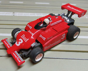 For-H0-Slotcar-Racing-Model-Railway-F1-Indy-Budweiser-with-Tyco-Engine