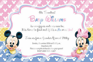 Image Is Loading PRINTED Baby Minnie Mouse Baby Shower Invitations Gender