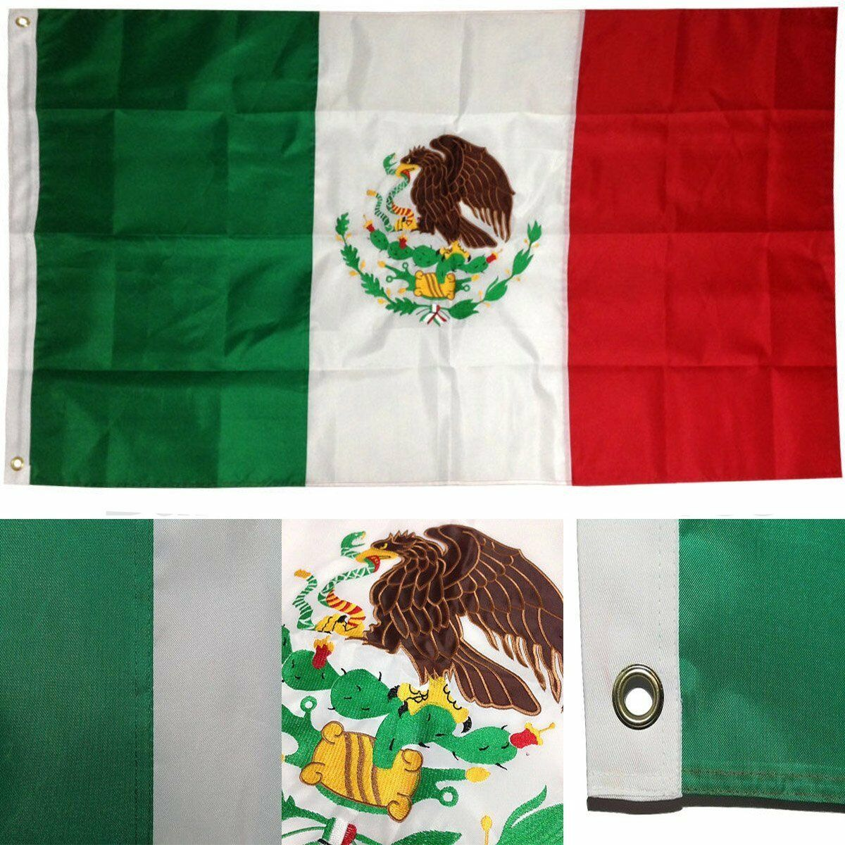 3x5 Ft EMBROIDERED SEWN NYLON Mexican Country National