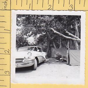 Details about 50s car tents tennis shoes B/W camping scene 7904