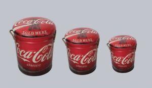 Coca cola coke metal stool or storage bin vintage retro seat
