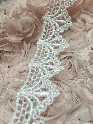 "1"" Ivory or White Delicate Victorian Scalloped Venice Lace Trim, 5 Yard Lot"