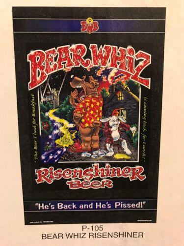 BEAR WHIZ BEER Risenshiner ~ VTG ~ New Old Stock ~ Poster Advertising Sign P5