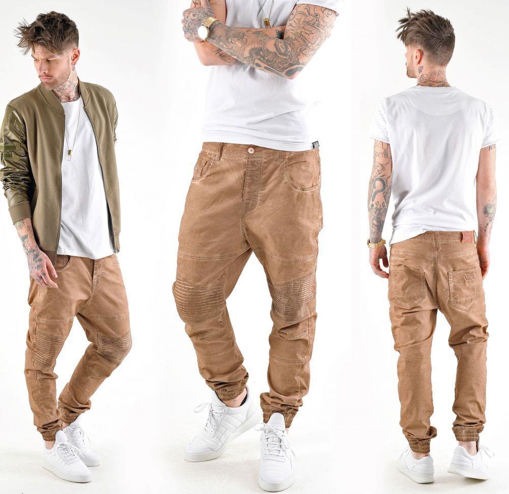 VSCT Clubwear Noah Biker Jeans Cargo Hose Camel Overdyed