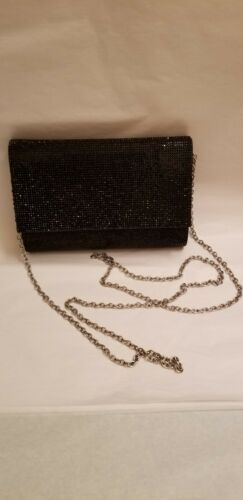 Worn gold and black shoulder purse Vintage Aldo bag with long chain Evening purse.