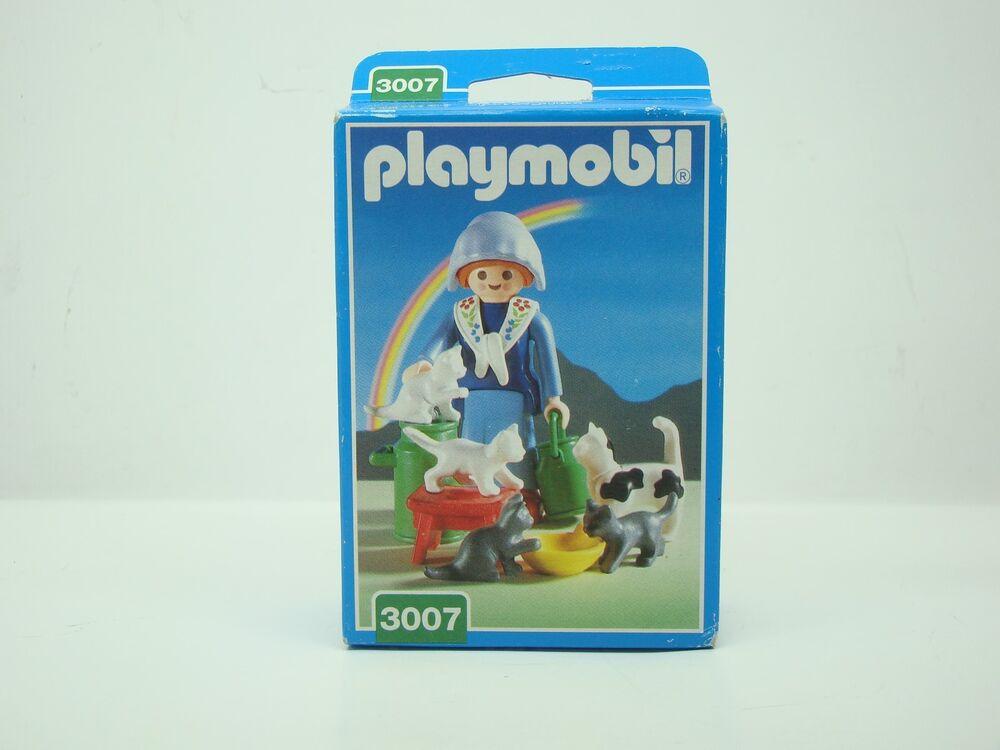 Playmobil - 3007 - Ferme - Fermiere Avec Chats - Neuf - Sceller -