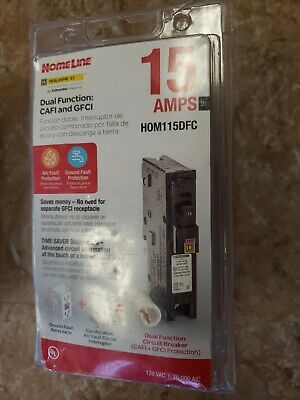 SQUARE D HOMELINE HOM115DFC DUAL FUNCTION AFCI//GFCI BREAKER 15A NEW IN PACKAGE