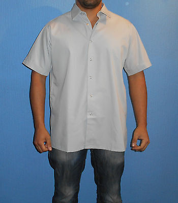 Mens light grey loose fit cotton mix 16 1/2 inch collar short sleeve work shirt