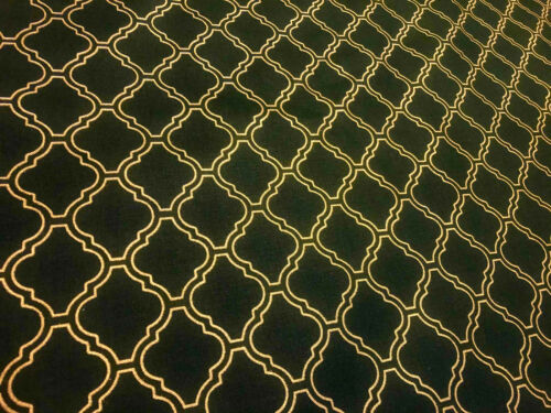 "Dark Green /& Gold Moroccan Arabic Damask Print Fabric Curtain Material 110/"" Wide"