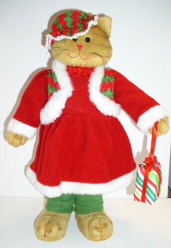 """15/"""" STANDING GIRL CAT`SOFT~CHRISTMAS~WREATHS,CENTERPIECE,CRAFTS"""
