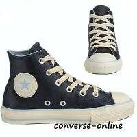 Kid Boy Girl Converse All Star Blue Leather Hi Top Trainers Boot 31.5 Size Uk 13