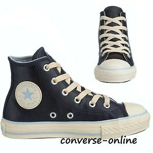 974348f0a93b KIDS Boy s Girl s CONVERSE All Star LEATHER HIGH TOP Trainers Boots ...