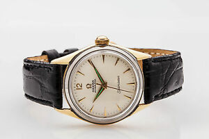 Vintage-1950s-OMEGA-Seamaster-14k-Gold-SS-Automatic-Mens-Watch-RARE
