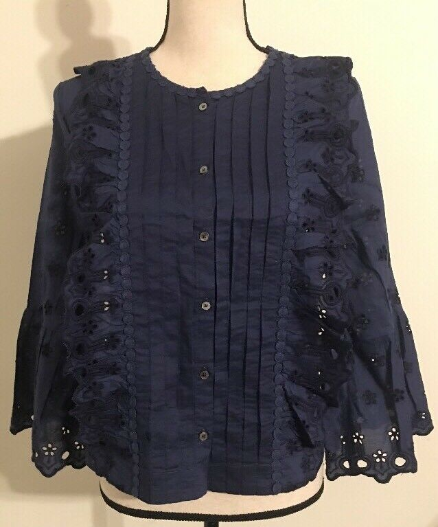 NWT JCREW PetiteFloral eyelet top Größe2P In Navy FA17 G8662 SOLDOUT