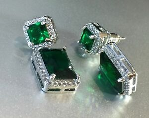 Details About 18k White Gold Earrings Made W Swarovski Crystal Emerald Green Stone