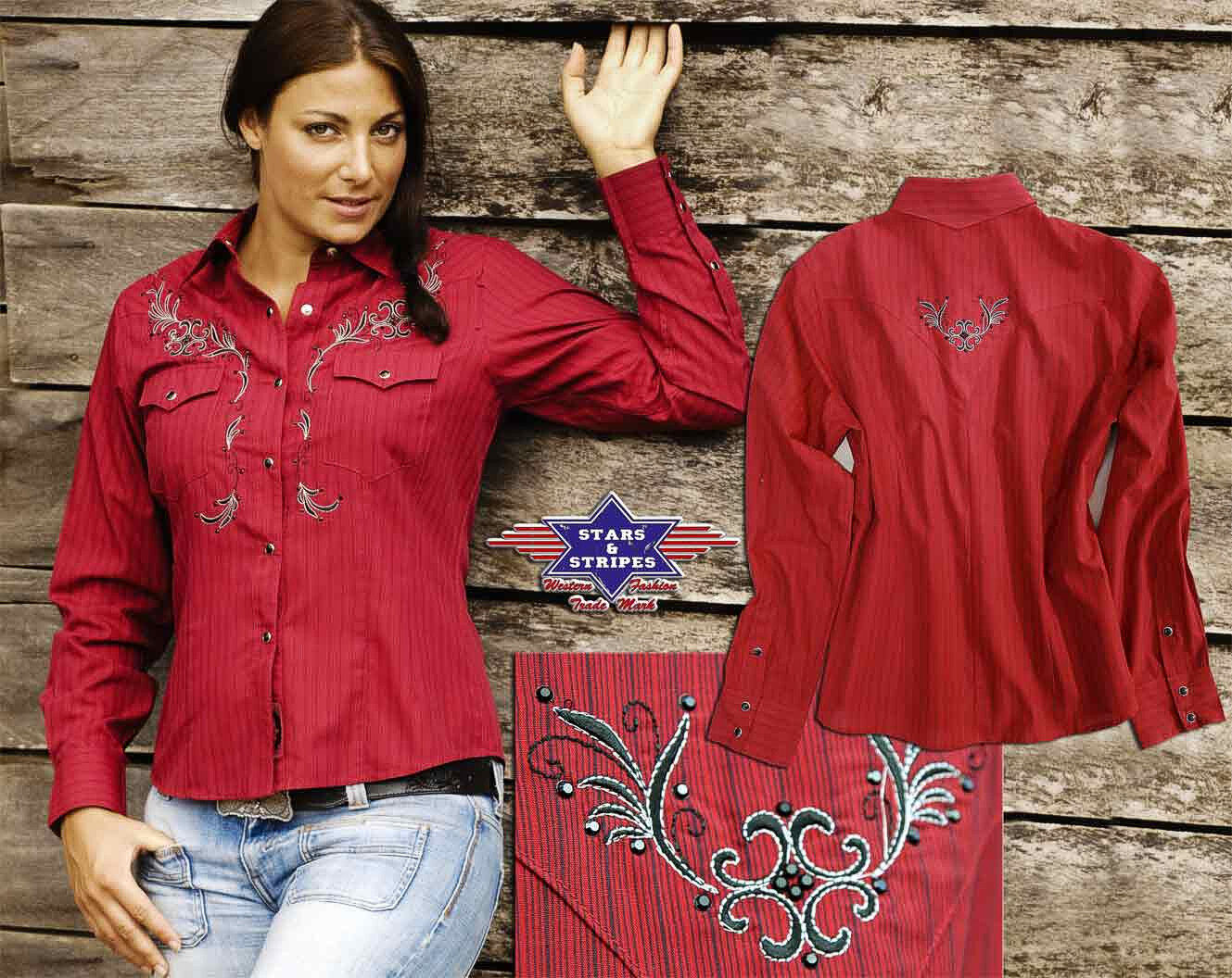 Blause Country Western Damen WesternBlause Hemd »BONNIE« Rot Stars & Stripes