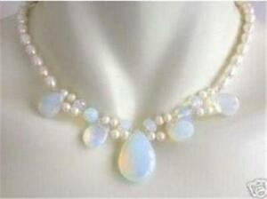 Natural-Blue-Fire-Opal-amp-White-Freshwater-Real-Pearl-Cluster-Pendant-Necklace-18-034