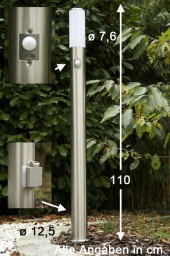 Candelabro con rilevatore di movimento Presa elettrica Aussenlampe Lampada Acciaio Inox Nuovo