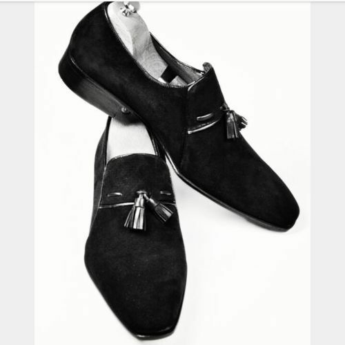 Mens Handmade Shoes Black Pure Suede Leather Tassel Moccasins Formal Dress Boots
