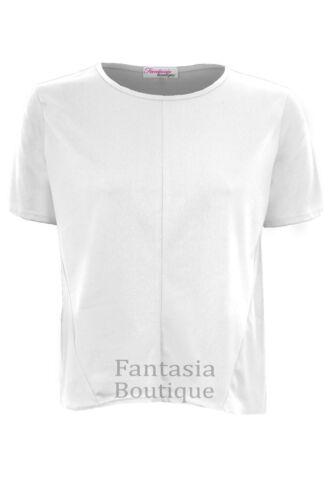 Ladies Plain Baggy Crape Stretch Tunic Short Sleeve Loose Women/'s Top T-Shirt