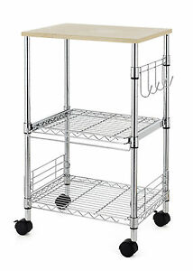 Wire Rolling Kitchen Cart Utility Food Service Microwave Stand